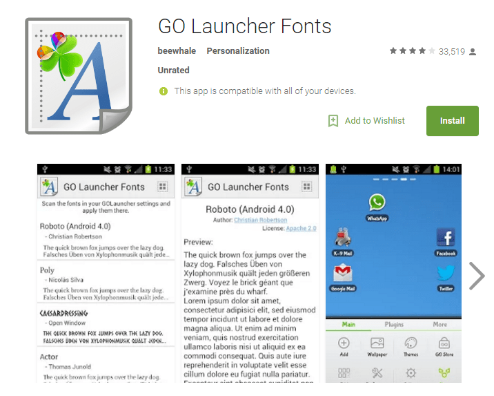 GO Launcher Fonts Android
