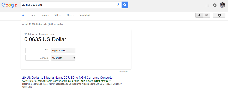 google currenciy conversion