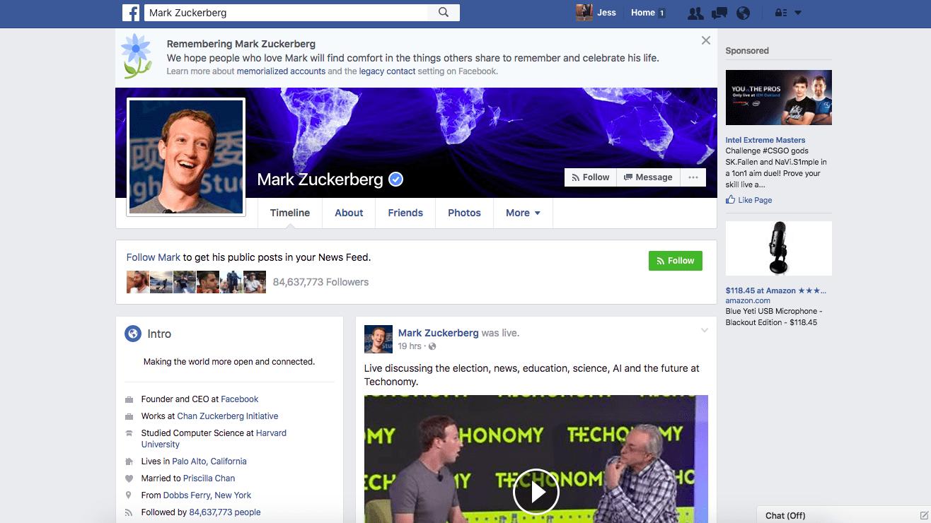 Facebook Bug mark zuckberg reported dead