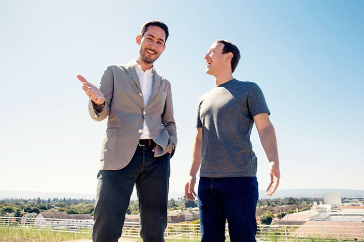 Facebook founder Mark Zuckerberg poses with Instagram co-creator Kevin Systrom. (Photo : <a href=