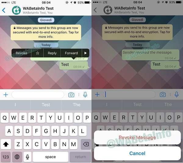 Whatsapp Revoke message feature coming soon, available on iOS beta version.