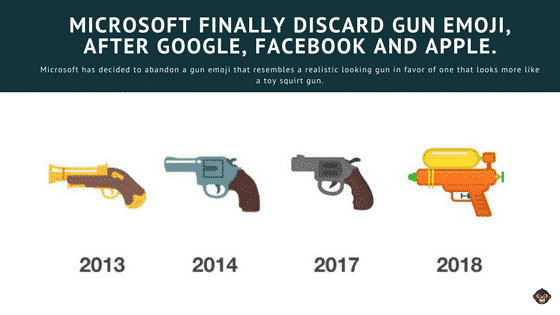 Microsoft Finally Discard It's Gun Emoji, After Google, Facebook And Apple