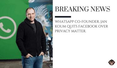 WHATSAPP WhatsApp Co-founder, Jan Koum quits Facebook over privacy matter.
