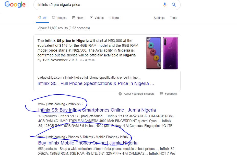 Jumia SEO ranking for smartphone.